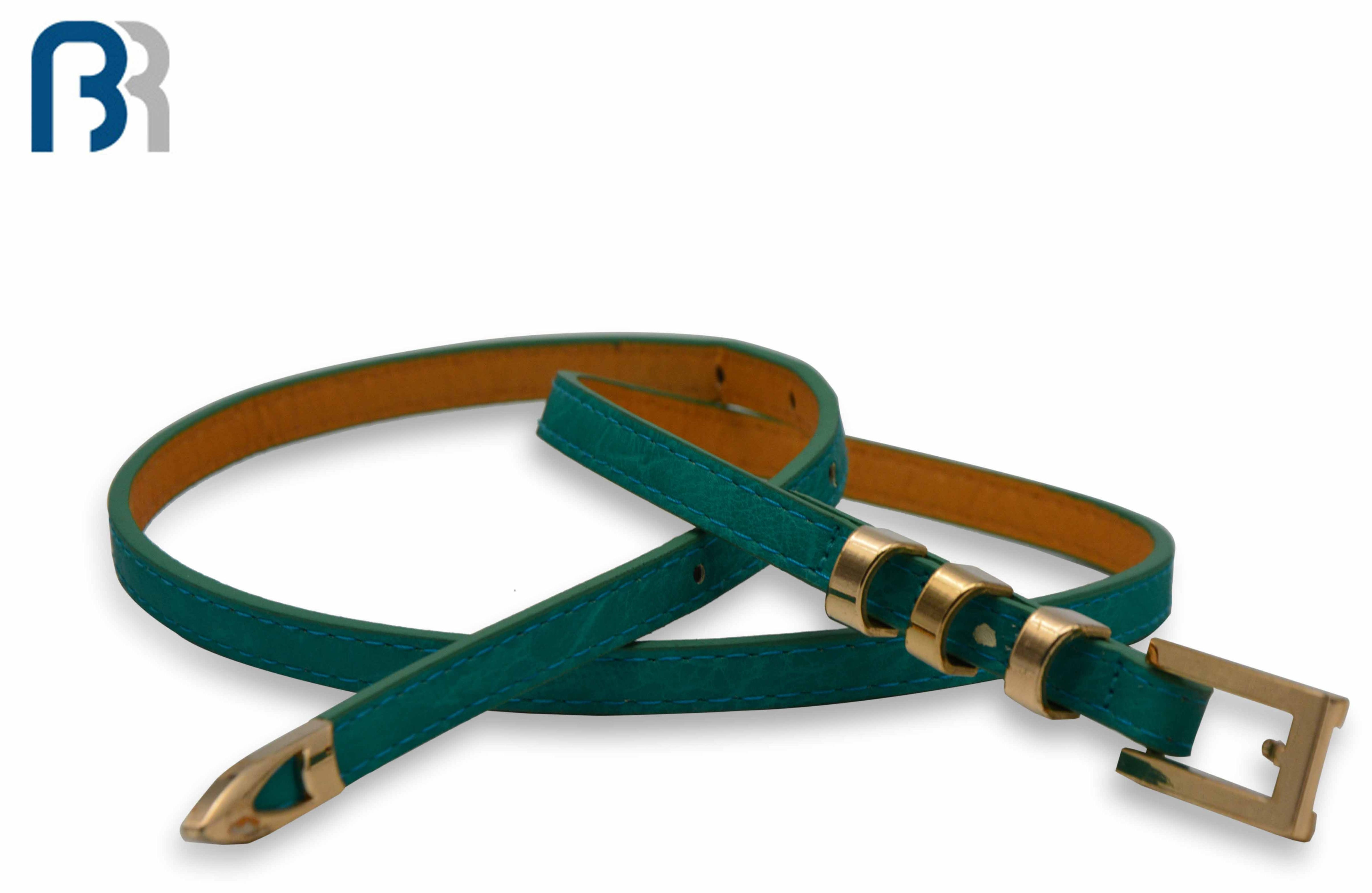 Fashion Green Belt With Gold Pin Buckle