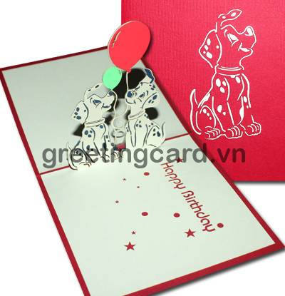 Spotted dog birthday card 3D pop up greeting card