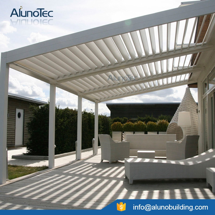 Outdoor Motorized Aluminum Pergola With LED Lights