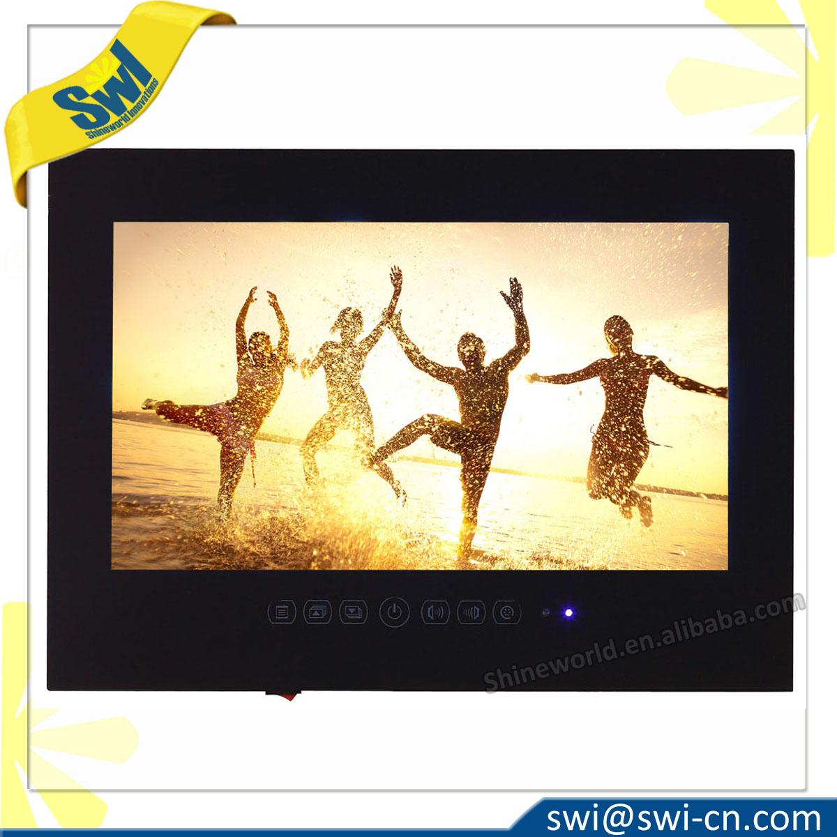 19'' IP66 Waterproof Mirror Built-in Shower TV for Bathroom