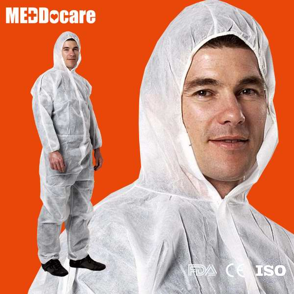 Hospital Chemical Painting Hooded Non Woven Tyvek Coverall Type 3 4 5 Disposable Work Coveralls