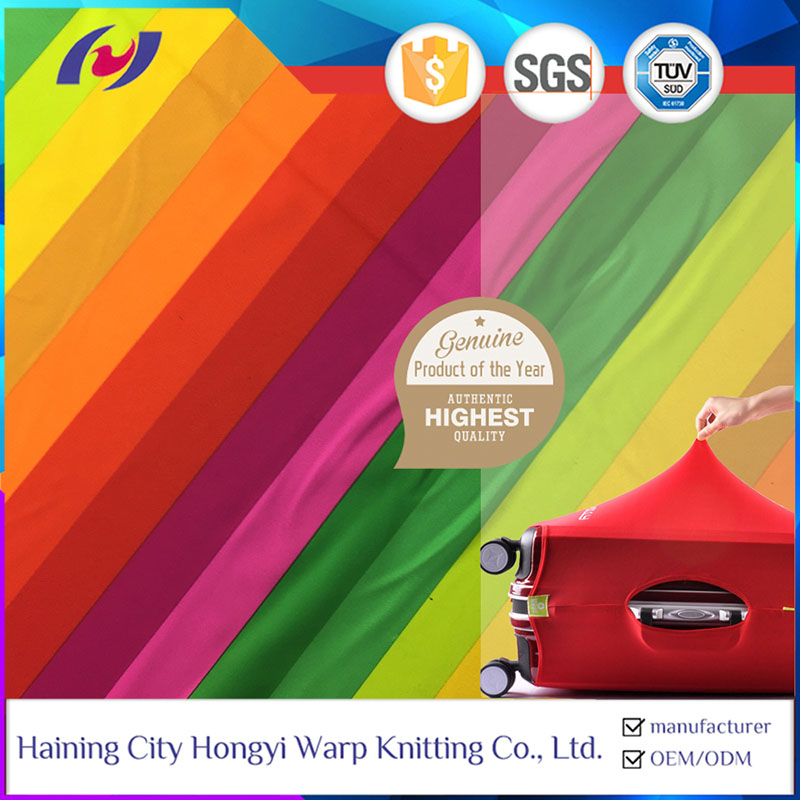Good Quality 4 Way Stretch Warp Knitted Polyester Spandex Rainbow Elastic Suitcase Fabric