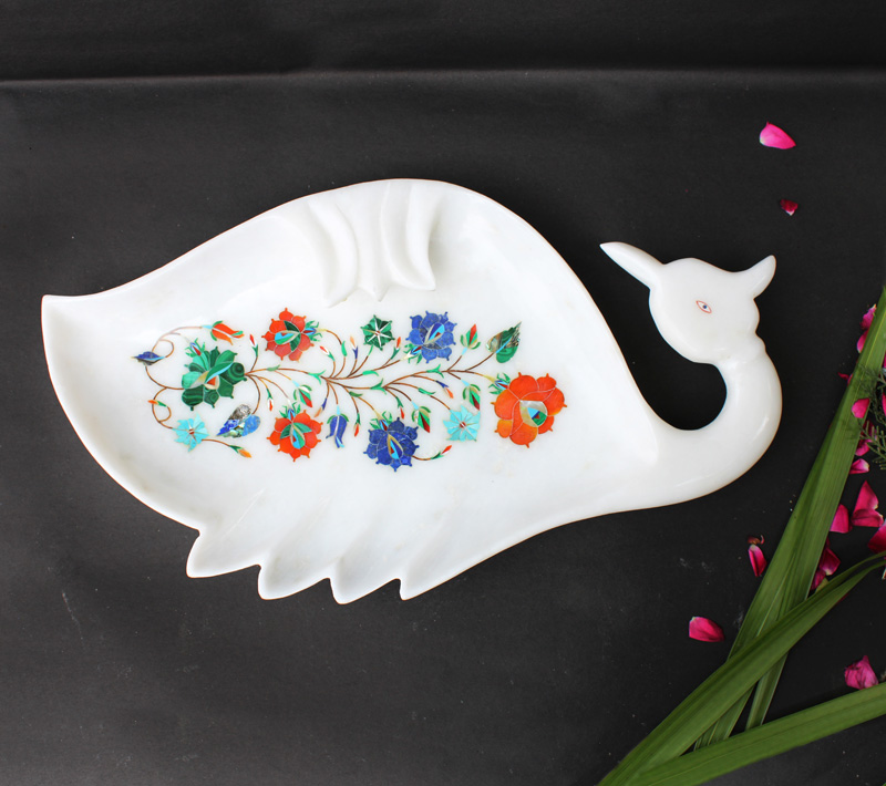 HANDCRAFTED MARBLE SWAN PLATE/TRAY INLAY WITH SEMI PRECIOUS STONE