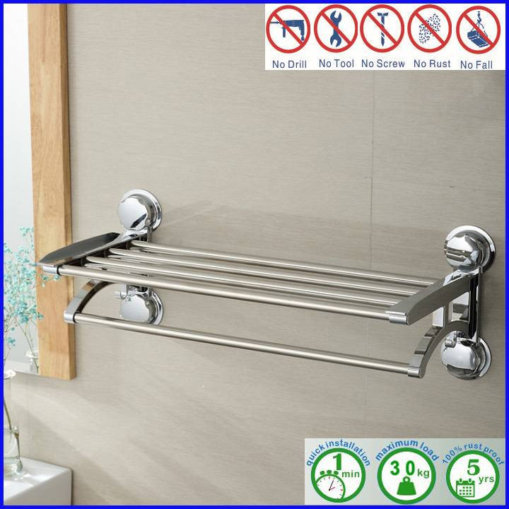 Chromed Stainless Steel Shower Caddy Rack with Towel Bar
