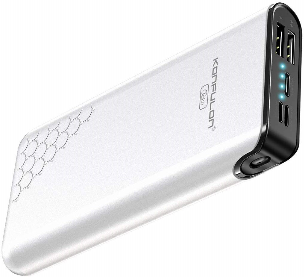 Konfulon A7 Slim 20000mAh Battery Pack Dual Input Power Bank Portable Charger for iPhone