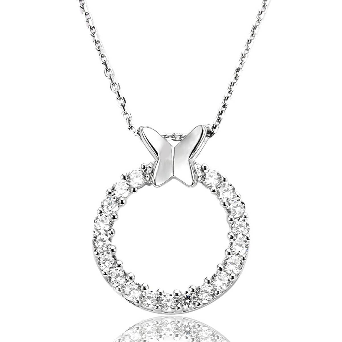 925 Sterling Silver Necklace Round Butterfly Necklace AAA Cubic Micro Setting Necklace