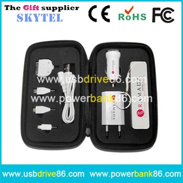 Imprinting 2600mAh Mobile Power Bank Charging Gift Set Promotional Gifts
