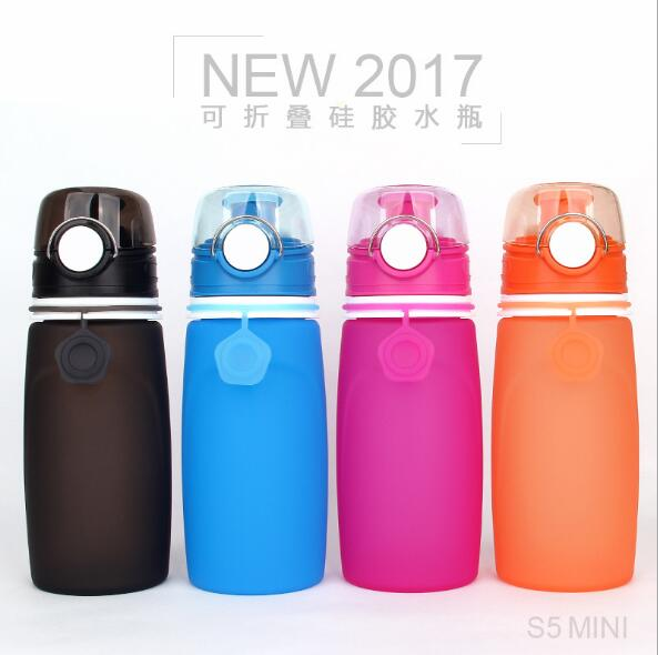 Easy for storage BPA free heat resistant roll up outdoor collapsible water bottles silicone