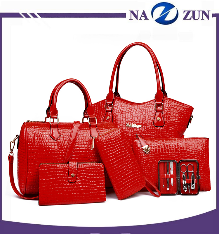 2017 New product bags PU Leather 6 PCS Lady Handbag Bag Set from china