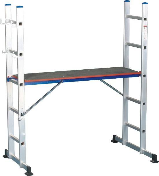 Multifunction Aluminum Ladder with Wood Work Platform and GS Mark