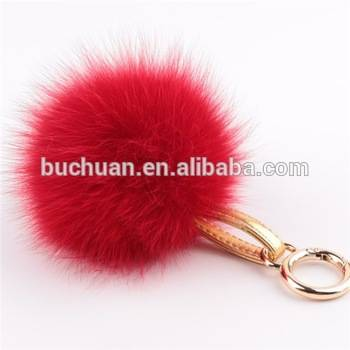 Fox Fur Pom Pom Leather Keychain