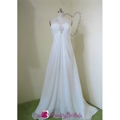 IVORY STRAPLESS BABY-DOLL COLUMN/SHEATH UNIQUE WEDDING DRESS W1300