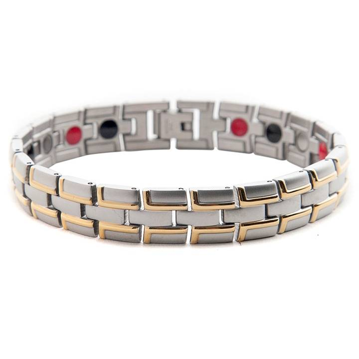stainless steel magnetic bracelet two tone IP gold plating magnet 2000 gauss easy pain