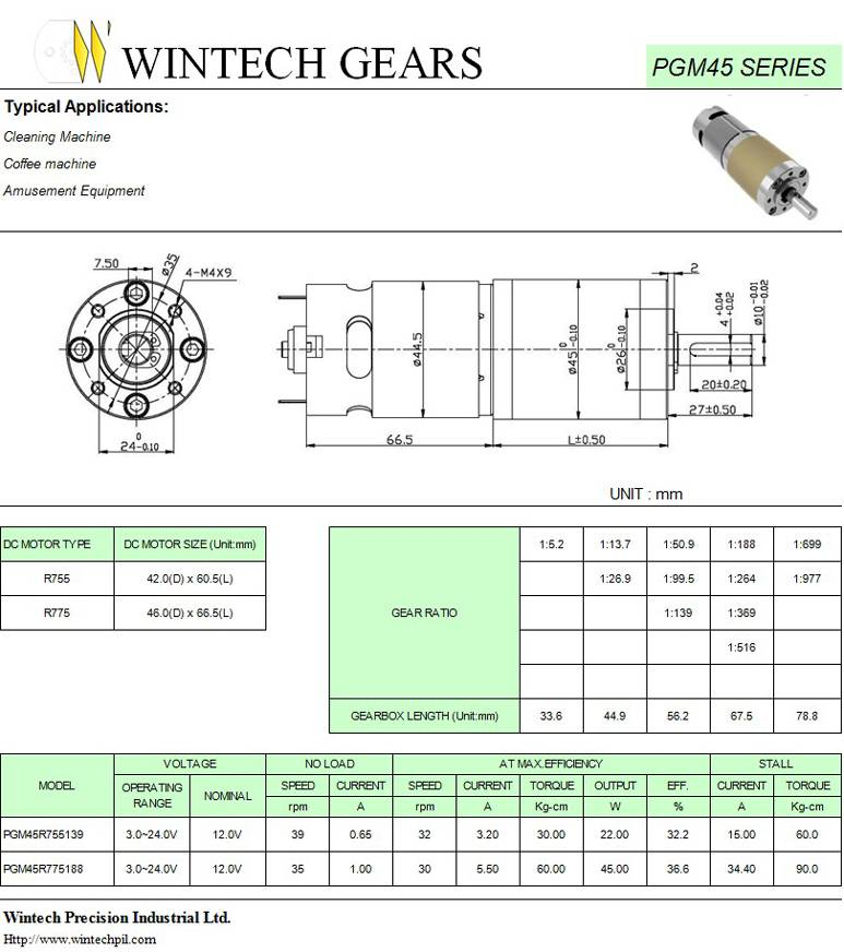 PGM45 Planetary Geared Motors