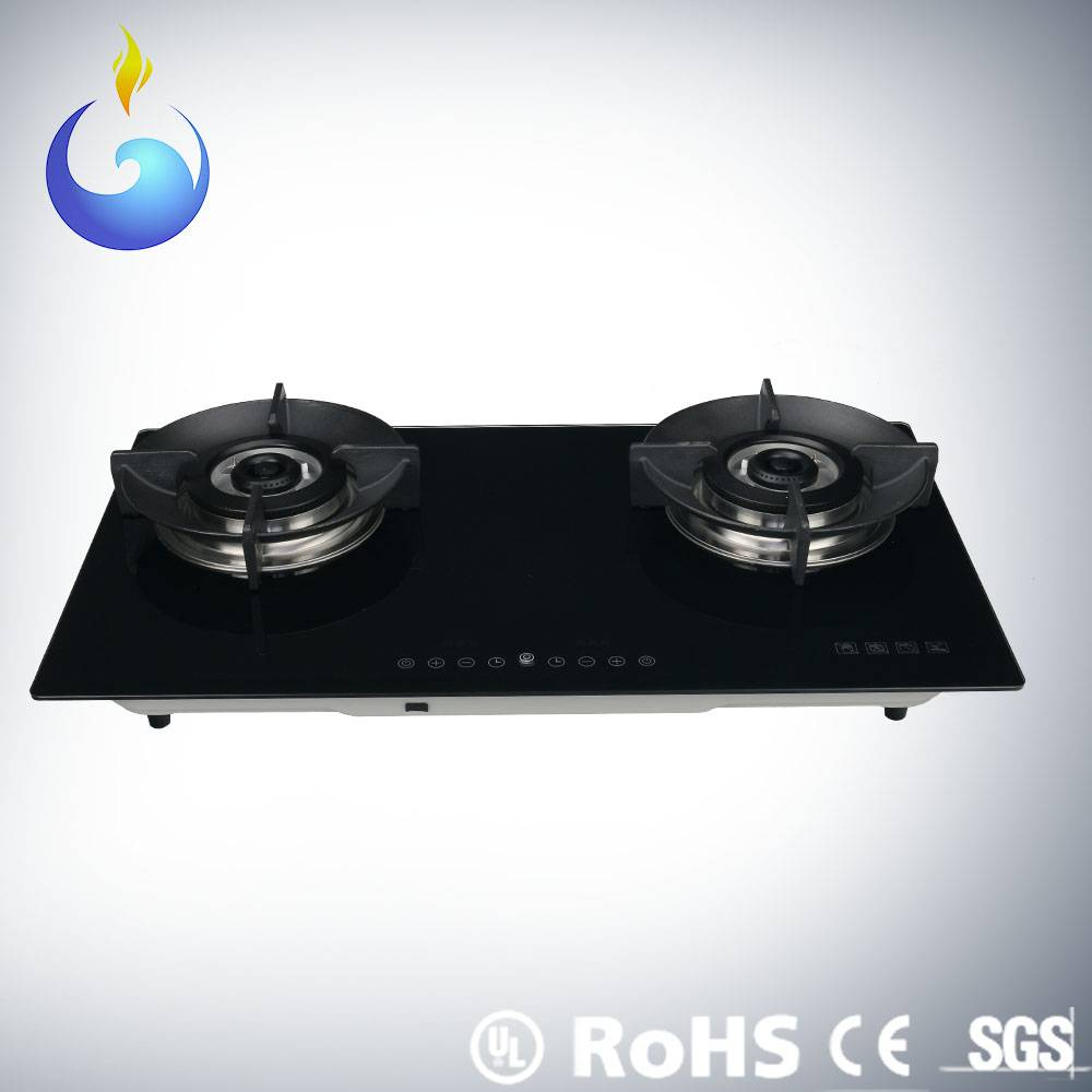Black crystal tempered glass surface gas cooker