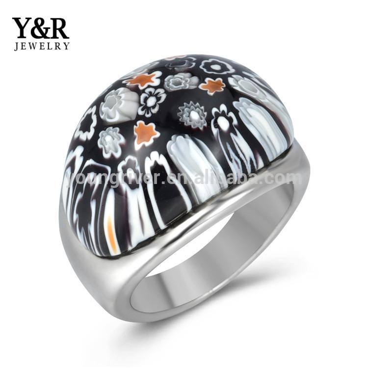 Wholesale Simple Design Handmade Millefiori Finger Rings