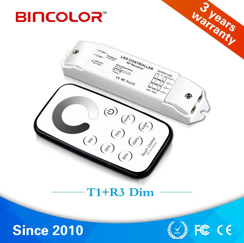 T1+R3 3 channels RF led dimmer, mini touch sensor dimmer switch