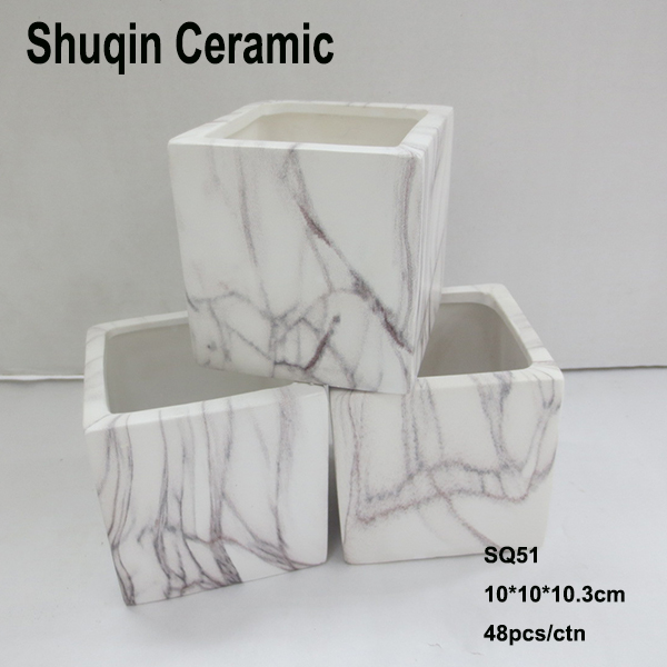 marble finish pot square tube ceramic pot flower pot