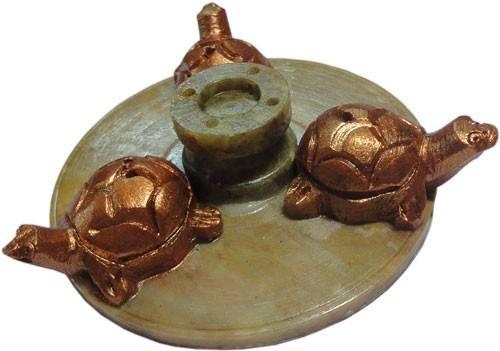 Incense Stick Holder -Triple Tortoise (Stone)