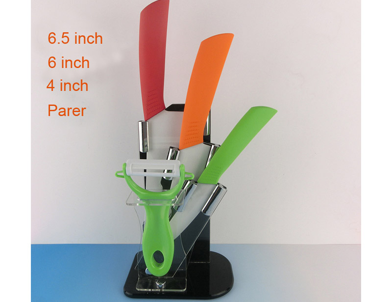 Non-Slip Handle 5 Pcs Color Full Ceramic Knife Set with Block