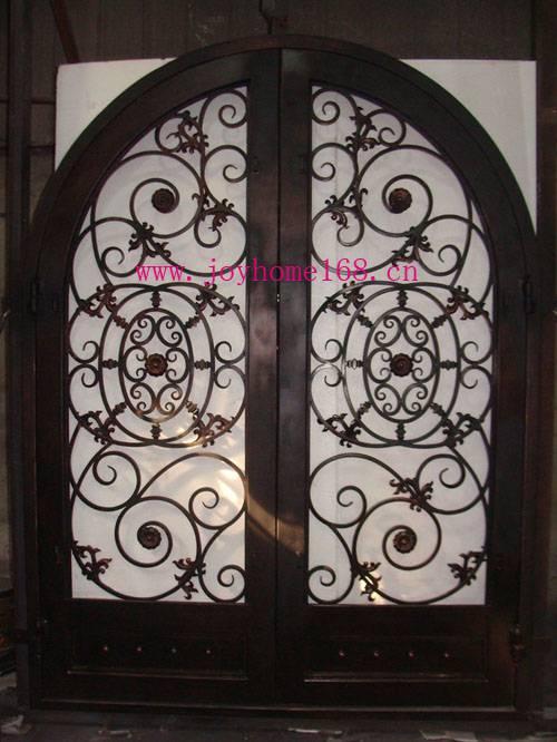 Wrought iron decorative fancy exterior double entry door design