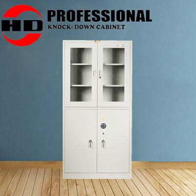 glass door metal storage cabinet