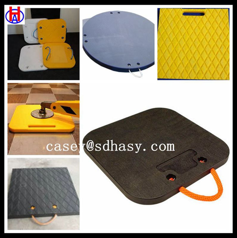 30030040 mm black crane outrigger pad / yellow hdpe crane jack square pad