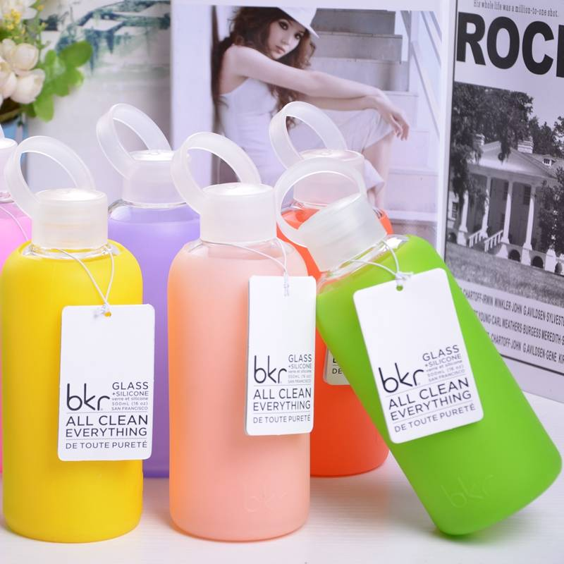 bkr® bottle: bubbly glass water bottle + soft silicone sleeve 500ml