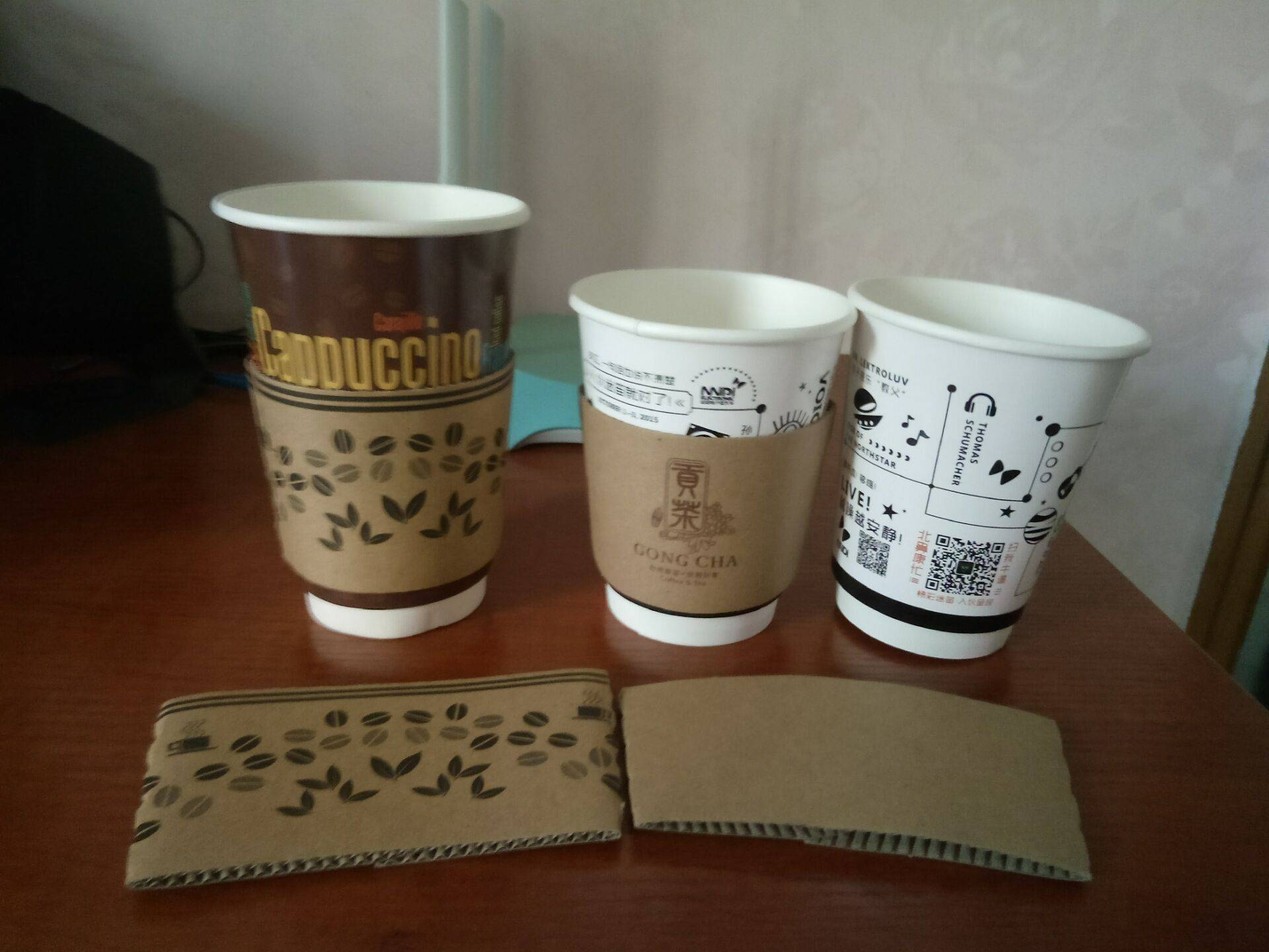 Double wall disposable paper cup for coffee 3-24oz