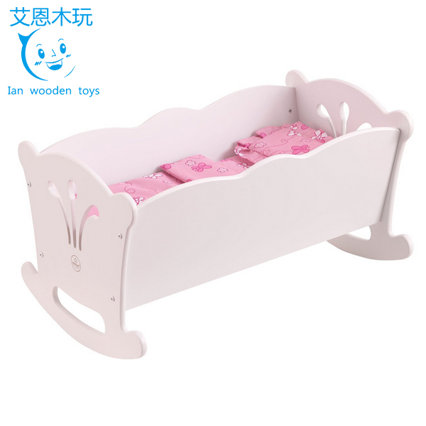 Miniature Furniture Wooden Toy Doll Rocking Bed