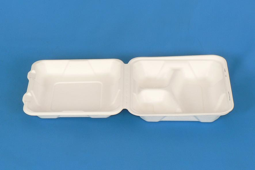 """Product Description Code: A-SH08-3 Name: 8"""" 3 compartment clamshell Size: 8"""" 8"""" 2.5"""" Color: Whit"""