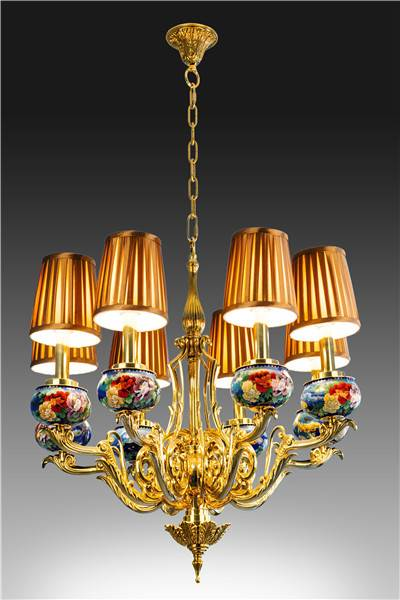 """Fish Pursuit for Richness"" Cloisonne Ceiling Lamp"