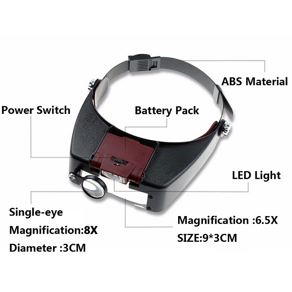 LED Lamp Head-Mounted Illuminated Magnifier Headband Magnifying Glass Loupe with LED