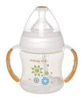 210ml Wide-neck dual color round shape feeding bottle