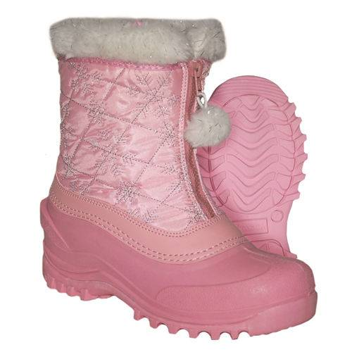 Pink nylon and PU snow boots