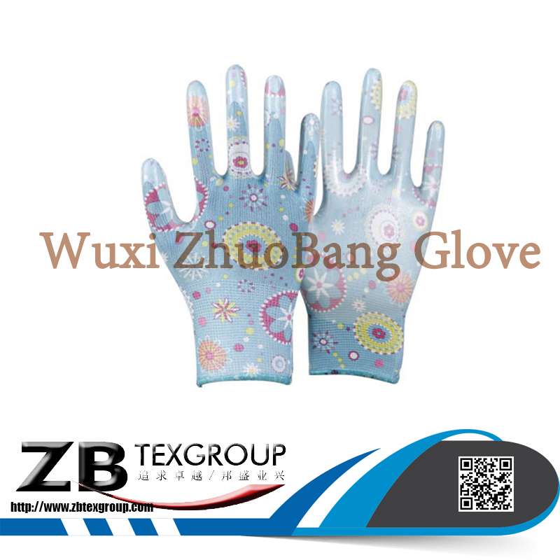 Wholesale colored Polyester Liner printed flower Nitrile Coated on plam Garden work safety Glove