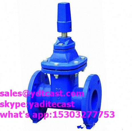 din3352 f4 soft seal gate valve blue color