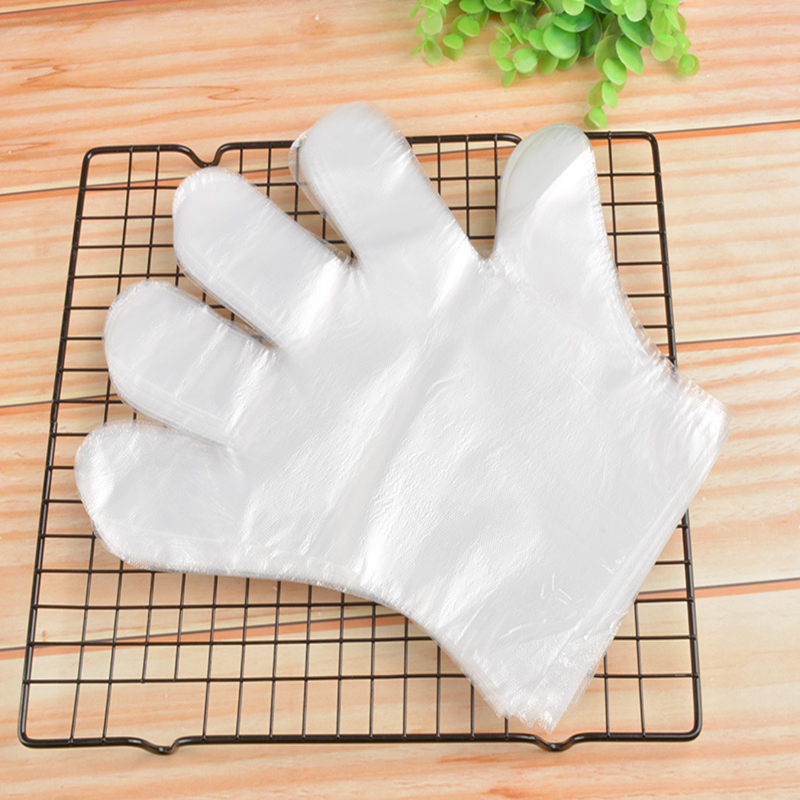 Transparent clear pe gloves disposable food bbq gloves HDPE factory price