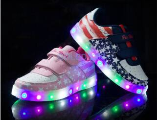 GD fashional colorful LED light shoes convenient hook&loop sneakers for childrens