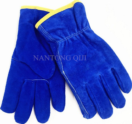 Blue cow split leather driving gloves