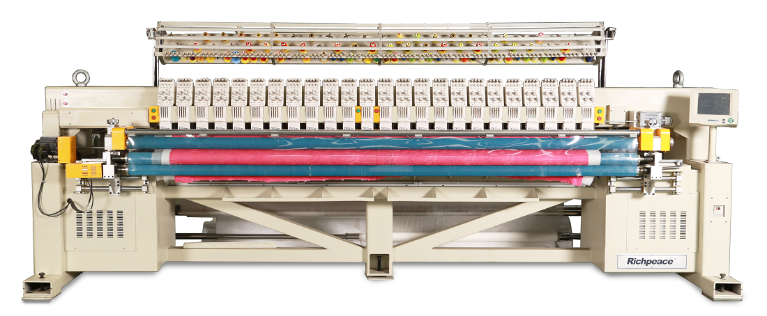 Computerized Multi-color Single Roll Quilting and Embroidery Machine