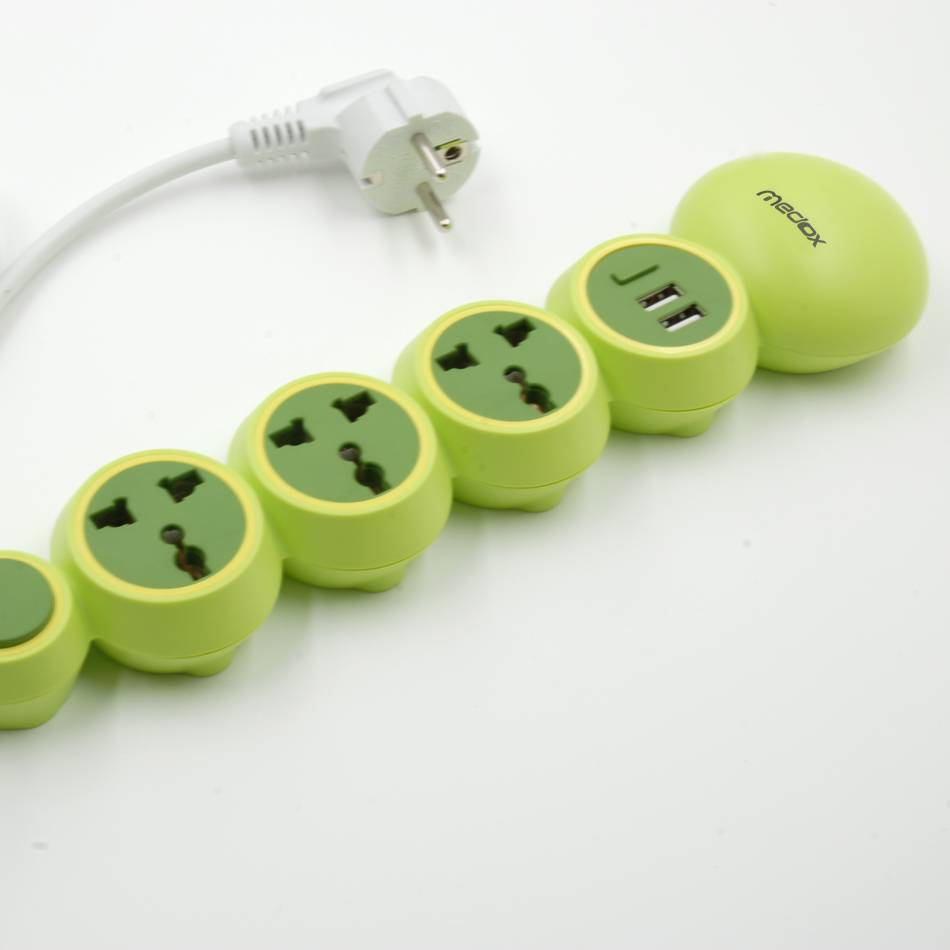 2015Medox most fashion and creative power converter, two usb and three plug extension.  Children saf