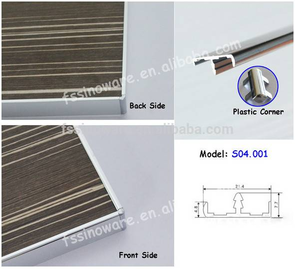Aluminum Edge Banding Profiles for furniture board S04.001 with plastic corner popular around the wo