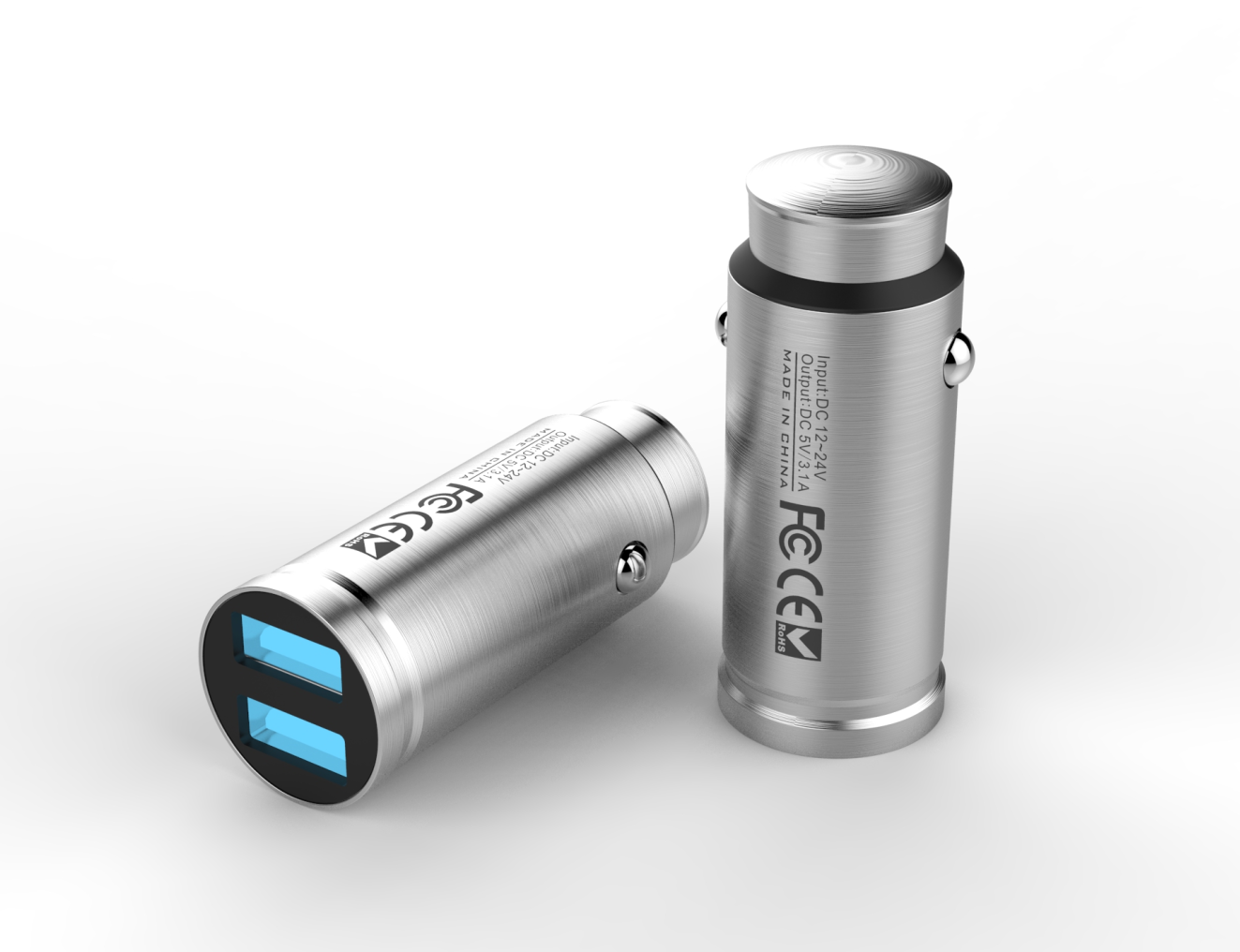 2 USB Port 3.1A Metal Car Charger Adapter