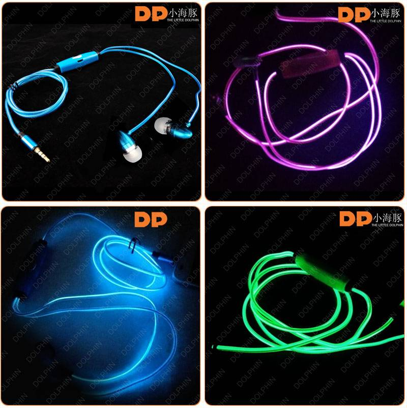 Factory price deep bass metal EL glow earphone from China supplier