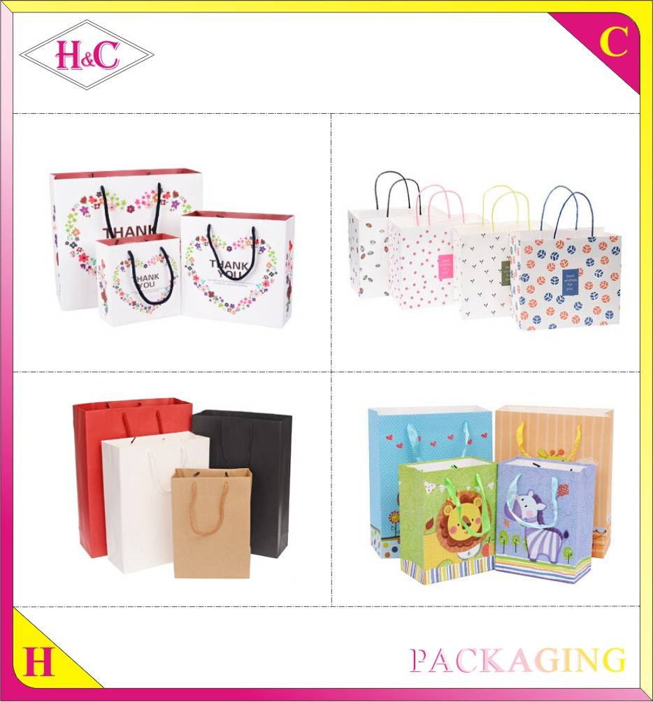 Wholesale decorative luxury recyclable fashion gift paper shopping bags with your own logo