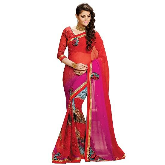 Shonaya Red & Pink Colour Georgette Embroidered Sarees With Blouse PieceSGDN2-4860