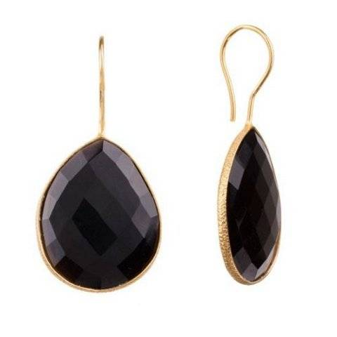 925 sterling silver Black Onyx Gemstone Earring-Vermeil Gold