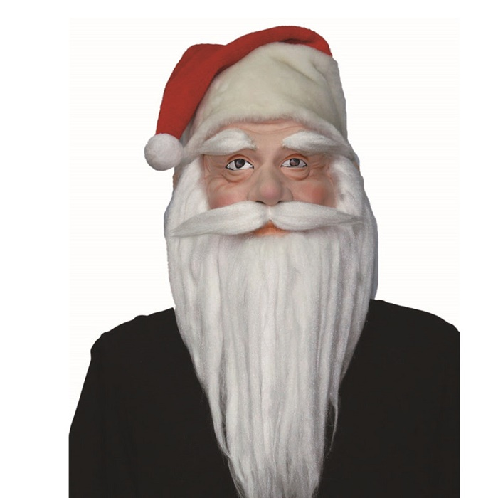 X-MERRY TOY Christmas Party Santa Claus Head Latex Mask With White Beard Mask full Face Cosplay Cos