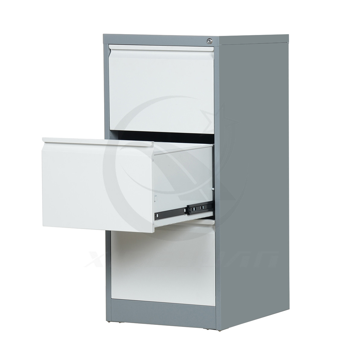 Flat packing knock down structure steel 3 drawer filing cabinet